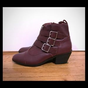 Wine Leather Ankle Boots